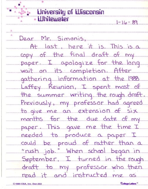 Research Paper Cover Letter Example
